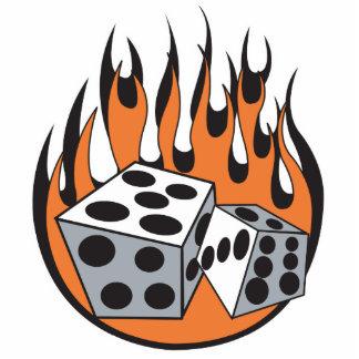 retro flaming dice design photo cut out
