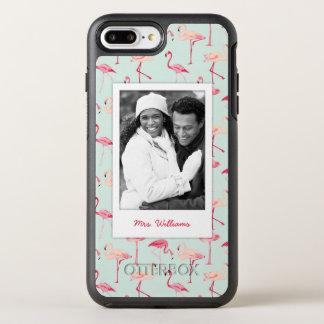 Retro Flamingo Pattern | Add Your Photo & Name OtterBox Symmetry iPhone 8 Plus/7 Plus Case