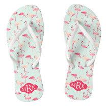 Retro Flamingo Pattern | Monogram Flip Flops