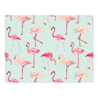 Retro Flamingo Pattern Postcard