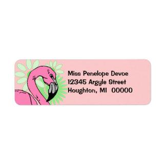 Retro Flamingo Pink White Return Address Label