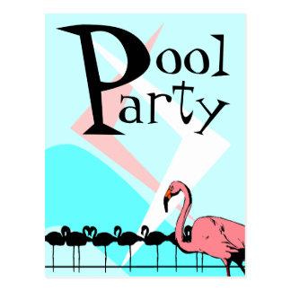 Retro Flamingo Pool Party Invitation Postcards PCs