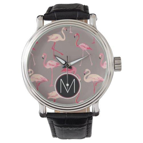 Retro Flamingos  Monogram Wrist Watch