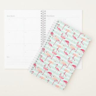 Retro Flamingos On Mint Stripes Planner