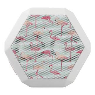 Retro Flamingos On Mint Stripes White Bluetooth Speaker