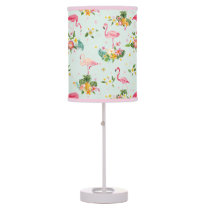 Retro Flamingos & Tropical Plants Pattern Desk Lamp
