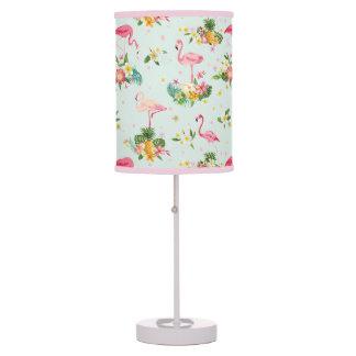 Retro Flamingos & Tropical Plants Pattern Desk Lamp