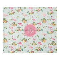 Retro Flamingos & Tropical Plants Pattern Duvet Cover