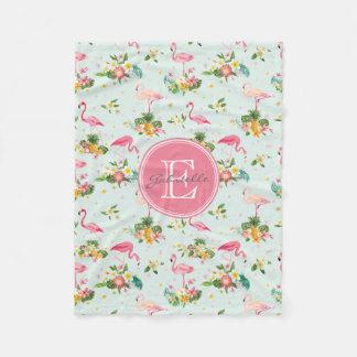 Retro Flamingos & Tropical Plants Pattern Fleece Blanket