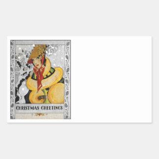 Retro Flapper Christmas Greeting Rectangular Sticker
