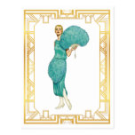 Retro Flapper Teal Feather Dress Vintage Art Postcard