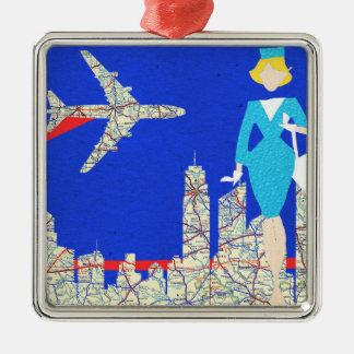 Retro Flight Attendant Christmas Ornament