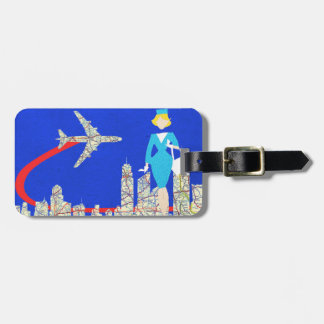 Retro Flight Attendant Customizable Luggage Tag