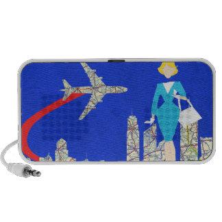 Retro Flight Attendant Doodle Speaker