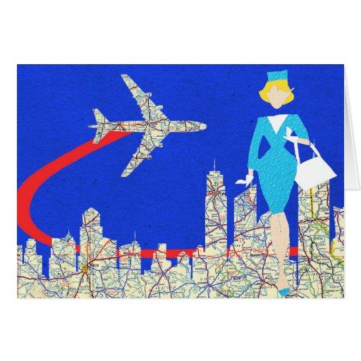 Retro Flight Attendant Greeting Card Zazzle