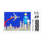 Retro Flight Attendant Postage Stamps