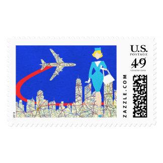 Retro Flight Attendant Postage Stamps