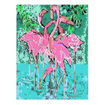 Retro Flock of Flamingo Birds Postcard Flamingos