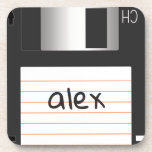 """Retro Floppy Disk with Label for Geek Nerds Beverage Coaster<br><div class=""""desc"""">Available here: http://www.zazzle.com/produkto</div>"""