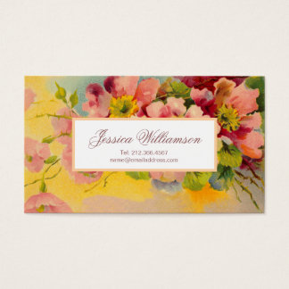 Retro Floral 1950s Primroses Design Business Card