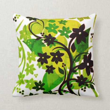 [Retro Floral] 1974 Botanical Graphic Design Throw Pillow