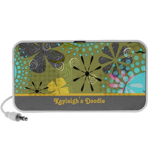 Retro Floral 1 Personalized Doodle Speakers