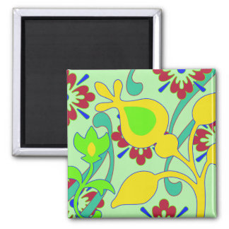 Retro Floral 2 Inch Square Magnet