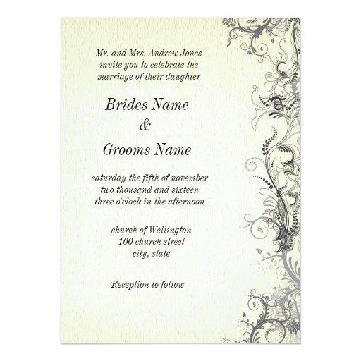 "Retro Floral 5.5"" x 7.5"" Wedding invitation Card"