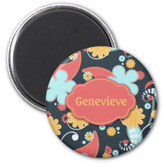Retro Floral - Add a name - 2 Inch Round Magnet