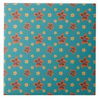 Retro Floral and Polka Dots, Teal Ceramic Tile