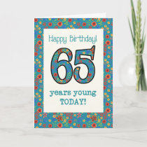 Retro Floral Birthday Card 65 Years Young