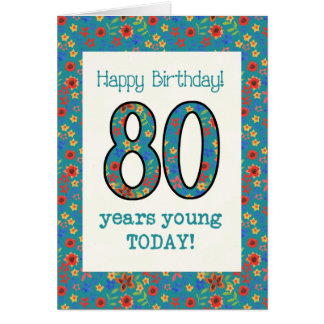 Retro Floral Birthday Card 80 Years Young