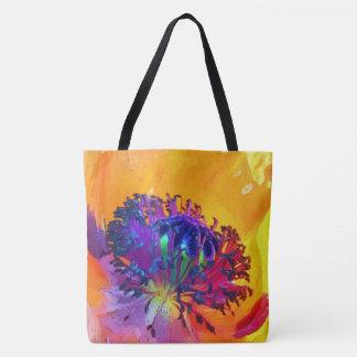 retro floral bloom tote bag