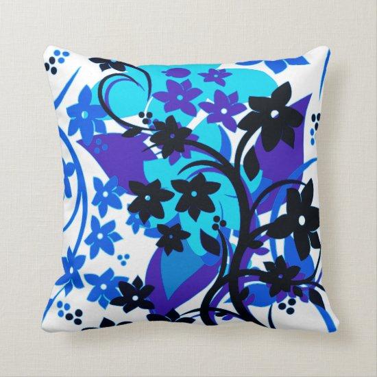 [Retro Floral] Blue Botanical Graphic Design Throw Pillow