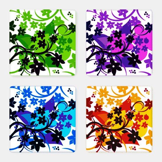 [Retro Floral] Bold Botanical Graphic Design Coaster Set