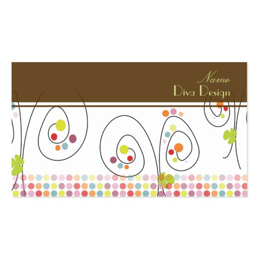Retro floral bouquet with polka dots BusinessCard Double-Sided Standard Business Cards (Pack Of 100)