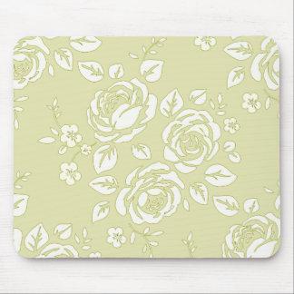 Retro-Floral (c) Unisex_Cream_ Mouse Pad
