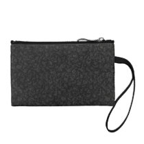 Retro Floral Charcoal Gray Bagettes Makeup Coin Wallet
