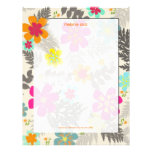 Retro Floral, choose your fav background color Customized Letterhead