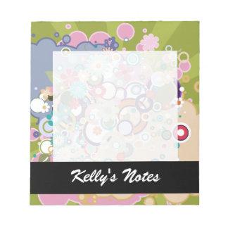 Retro Floral Circles & Splats Spring Pastels Note Pad