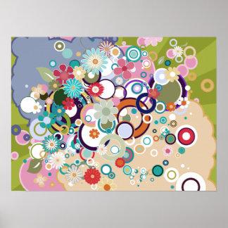 Retro Floral Circles & Splats Spring Pastels Poster