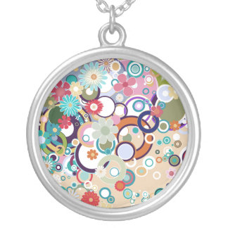 Retro Floral Circles & Splats Spring Pastels Silver Plated Necklace