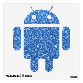 Retro Floral Country Blue Android Wall Decal