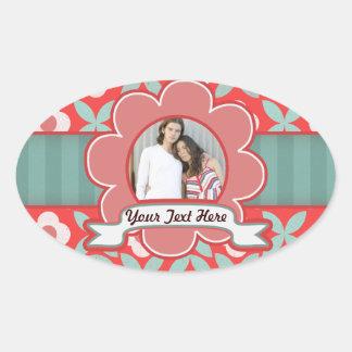 Retro Floral Customizable Frame Oval Sticker