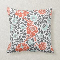 Retro Floral Damask Pillow