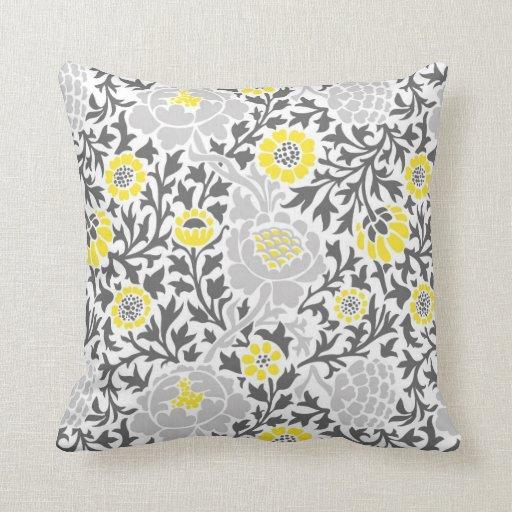 Retro Decorative Pillows : Retro Floral Damask Throw Pillow Zazzle