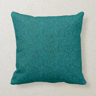 Retro Floral Dark Teal Pillow