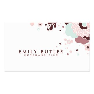 Retro Floral Design Brown White And Pink Double-Sided Standard Business Cards (Pack Of 100)
