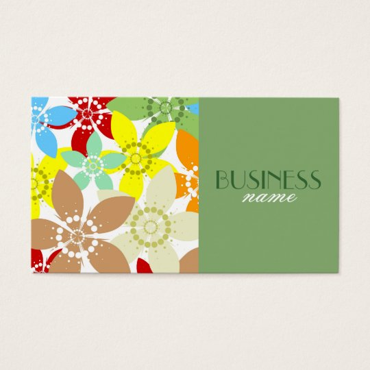Retro Floral Design Business Card