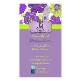 Retro Floral Design, easily customized Business Card